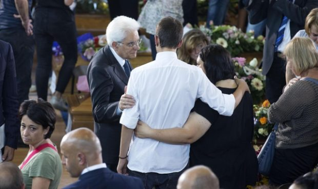 Italian President Sergio Mattarella greets the relatives of the victims during the mass funeral for some of the victims of the earthquake that devastated central Italy on 24 August, in Ascoli Piceno, Marche region, Italy, 27 August 2016. The Civil Protection Department said on 27 August that the latest provisional death toll from the earthquake in central Italy is 290. ANSA/ MASSIMO PERCOSSI